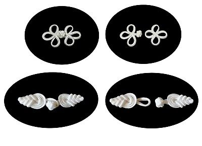 Off White or Black Chinese Frog Decorative Button Knot Closure Lot of 6 Pairs - Off White Frog