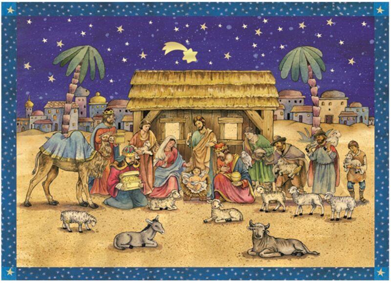 Nativity Scene German Christmas Advent Calendar Countdown Made Germany