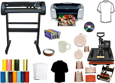 8in1 Pro Combo Heat Press 34 Metal Vinyl Cutter Plotter Printer Sublimation Ink