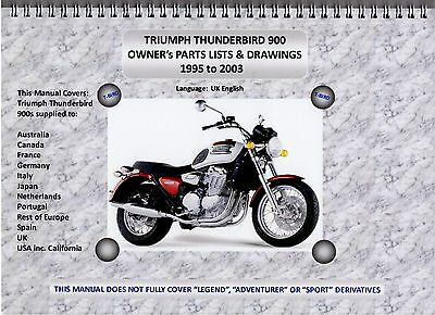 TRIUMPH THUNDERBIRD 900 PARTS MANUAL ALL VERSIONS 95-03. A4 AND SPIRAL BOUND.