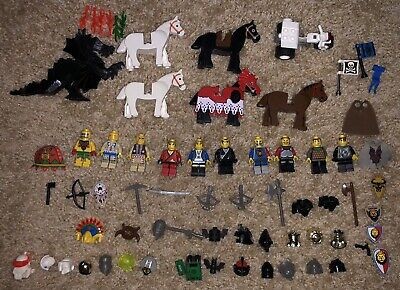 LEGO Vintage Knights Castle Knights, Horses, Dragon, Shields & Weapons + MORE