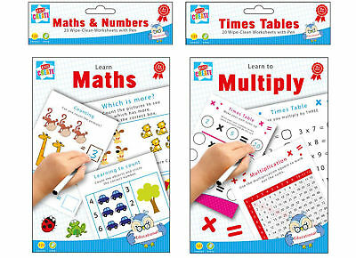 20 Wipe Clean Educational Learning Worksheets with Pen Kids Numbers Times (Learning Times Tables Kids)
