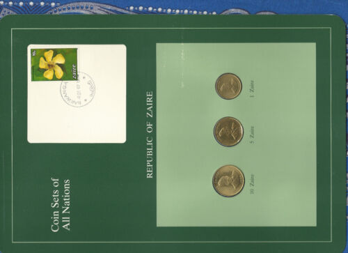 Coin Sets of All Nations Zaire UNC 5 & 1 Zaire 1987 10 Zaire 1988