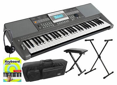 Teclado Piano Electrico Organo 61 Teclas 508 Sonidos Set Soporte Banco Funda