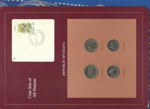 Coin Sets of All Nations Ghana UNC 100, 50, 20, 10 Cedis 1991 Otter Stamp