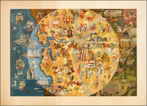 Northern California Pageant of History 1950 pictorial map POSTER 38168