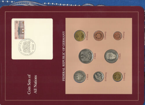 Coin sets of all nations Germany w/card 1985-1989 UNC 5 Mark 1987 03.05.1990