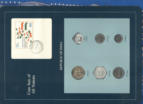 Coin Sets of All Nations India w/card 1988-1991 UNC 20 Paise 1988 1 Rupee 1990
