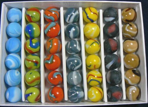 """MAJESTIC MARBLE COLLECTORS BOX SET OF 42 - 5/8"""" MARBLES.  LIMITED EDITION!!!"""