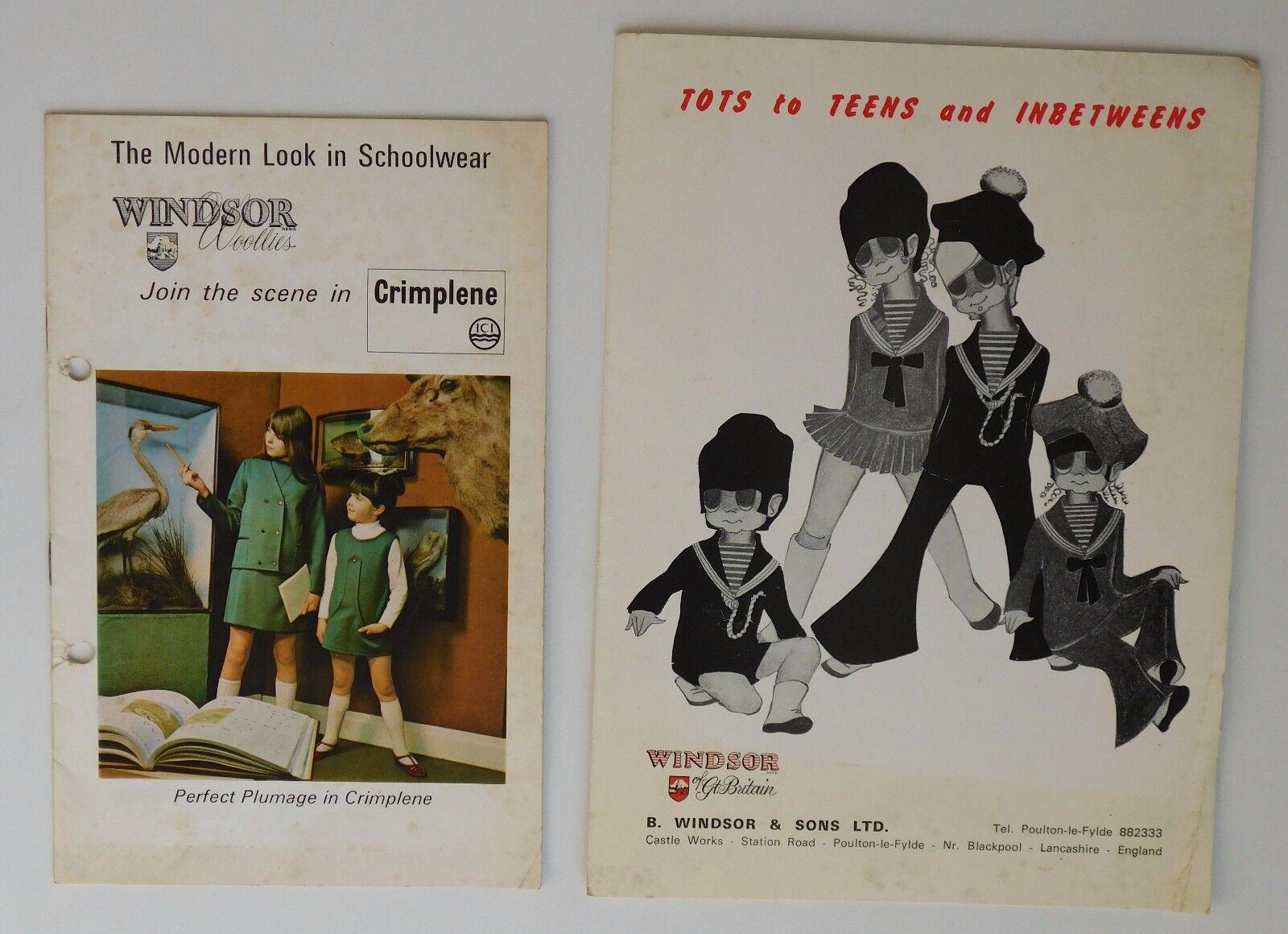 2 Vintage catalogues Windsor Woollies 1960s 1970s school uniform Crimplene tot n