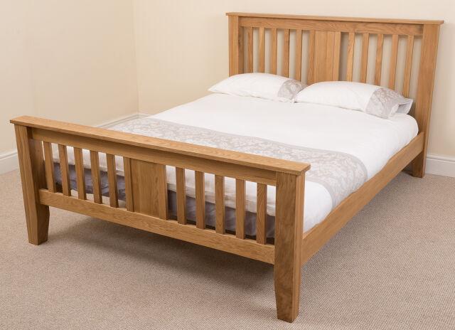 Boston Solid Oak Wood 6ft Super King Size Bed Frame Wooden Bedroom ...