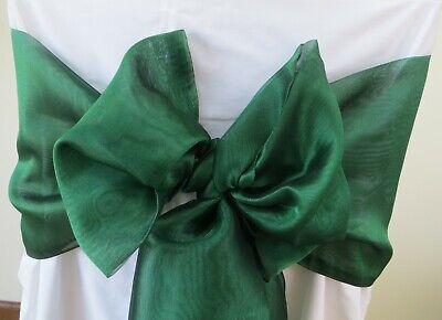 Traditional Rectangular Green - Chair sashes Emerald green Organza banquet wedding rectangular long chair sashes