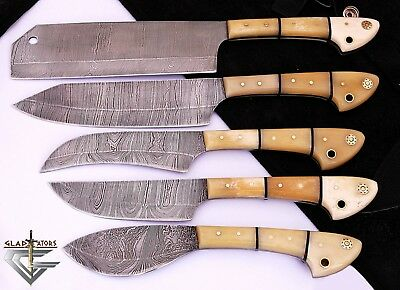 GladiatorsGuild Damascus Steel Knife Kitchen White Chef Knife Set w Case Bag 33B