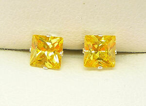 CITRINE YELLOW SILVER STUD EARRINGS 925 STERLING  5MM SIMULATED STONE sk1033