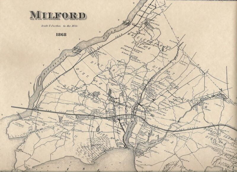 Milford Wheelers Farms Morningside CT 1868 Maps with Homeowners Names Shown