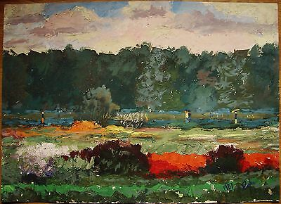 Russian Landscape - Russian Ukrainian Soviet Oil Painting Landscape gardens park walk