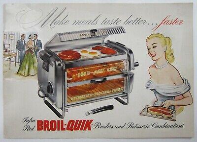 Vintage Mid Century Kitchen Appliance Broil Quik Advertising Sales Brochure 1953