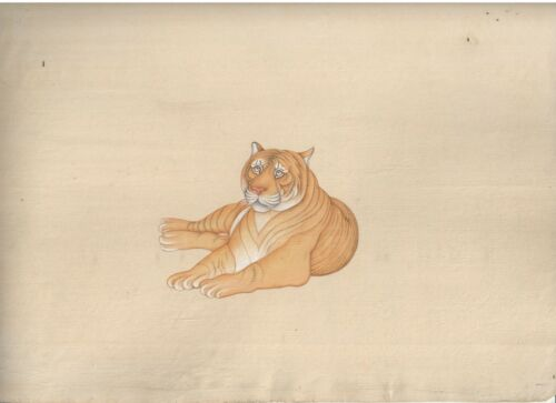 Indian+Wild+Animal+Tiger+Miniature+Paper+Painting+Hand+Painted+Decorative+Ethnic