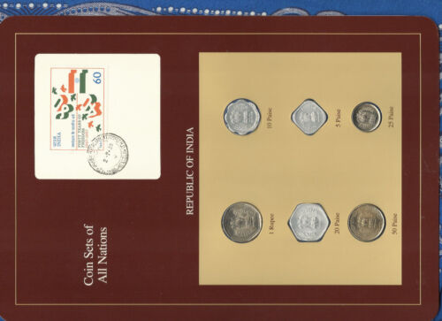 Coin Sets of All Nations India w/card UNC 1985-1988 Rupee 1986 50,25 paise 1987