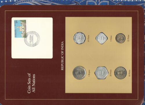 Coin Sets of All Nations India UNC 1986-1988 1 Rupee 1986 20, 50 paise 1988