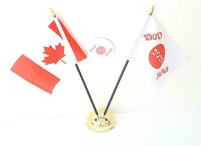 Canada & Tokyo Japan Olympics 2020 Desk Flags & 59mm BadgeSet
