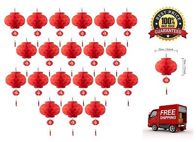20x New Year Chinese Red Paper Lanterns Festival Decorations 10
