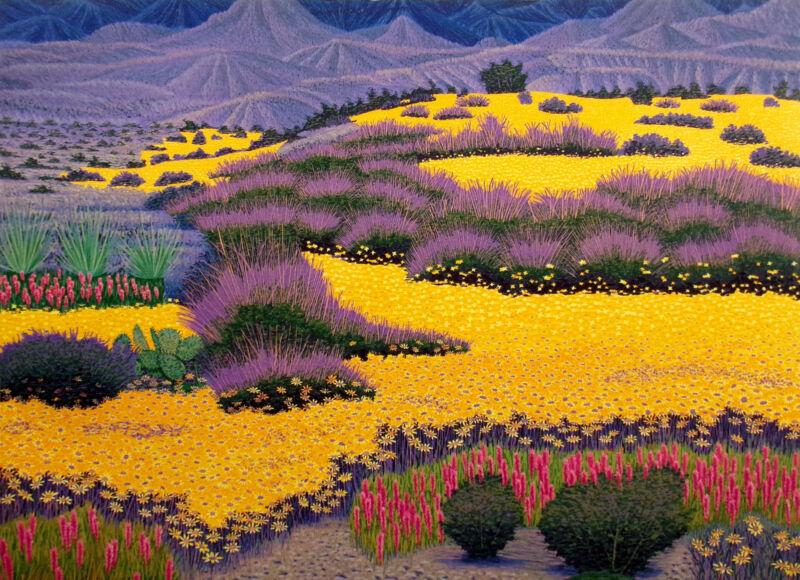 """Gordon Mortensen """"desert Gold"""" Hand Signed Woodcut Art Yellow Flowers Make Offer"""