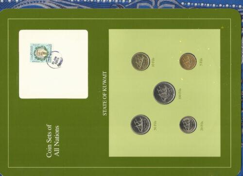 Coin Sets of All Nations Kuwait UNC 10,20,50 Fils 1983 5,100 Fils 1988 23JAN1989