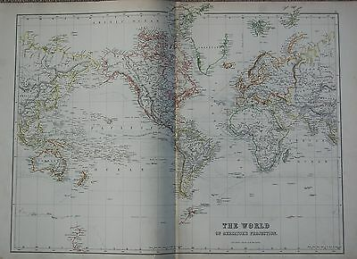 1897 THE WORLD MAP  MERCATORS PROJECTION