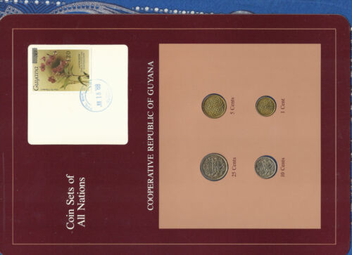 Coin Sets of All Nations Guyana 1980-1988 25 Cents 1988 UNC Orchid JUL1888