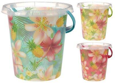 Große Kunststoff Eimer mit Ananas Orchidee Druck 12Litre Garten Wasser Dose