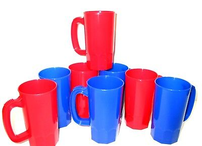 8 Small 14 Oz 4 ea Red/Blue Kids Mugs Cups Made in America  Lead Free No BPA*