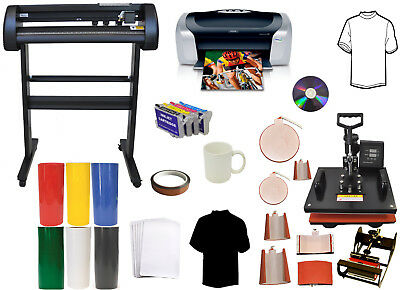 34 Laser Vinyl Plotter Cutter8in1 Combo Heat Pressprintersublimation Refils
