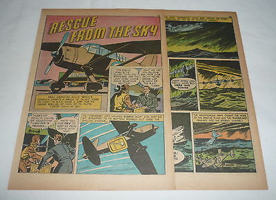 1943 four page cartoon story ~ WWII RAF RESCUES Lysander,Sunderland Flying Boat