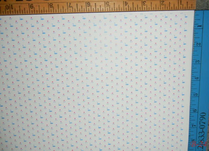 1980s Dollhouse Miniature 1:12 Scale Wallpaper Swan Pattern & Link to 80+ More