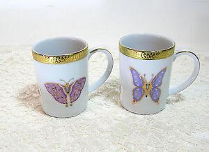 Royal-Gallery-Gold-Buffet-Butterfly-Mugs-Set-Of-Two-Purple-Butterflies