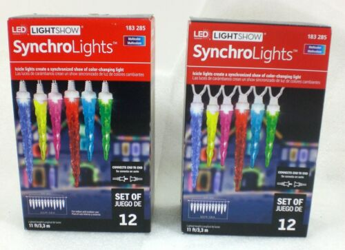 2 Boxes Gemmy Lightshow Synchro Lights 12ct Multicolor ICICLE LED Lights 183-285