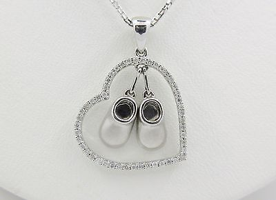 Baby Shoes Heart Necklace - 14K Solid White Gold Baby Shoes Pave Diamond Heart Necklace
