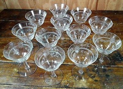 Dessert Sherbet Glasses Set of 12 Crystal Clear Etched Glass Flower Stemware