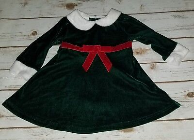 EUC Baby Girls Green Red White Christmas Dress Size 12 Months