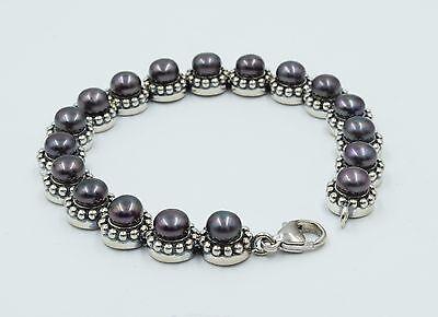 Sterling Silver Black Freshwater Cultured Pearl Link Bracelet .925