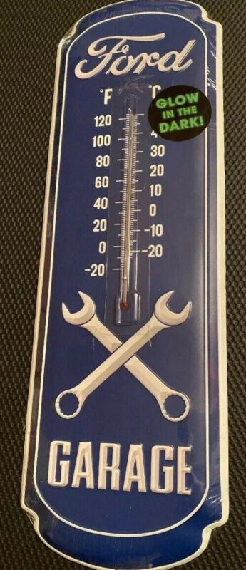 Ford Garage Open Roads Brand Glow in the Dark Thermometer - New