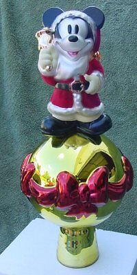 Disney Store Vintage Blown Glass Mickey Mouse Large Christmas Tree Topper