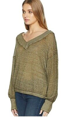 Free People Women's South Side Oversize Waffle Knit V-Neck Top- Moss Green, L