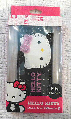 Hello Kitty iPhone 5 Case Stitched Faux Leather and Rhinestone Design NIP ()