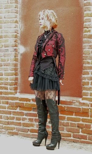New Harlequin Red & Black Tapestry Ladies Tailcoat by Shrine Costumania