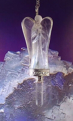 STUNNING HAND CARVED LARGE CRYSTAL QUARTZ ANGEL PENDULUM WITH QUARTZ POINT