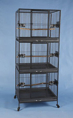 LARGE Three Stackable Tier Hawaiian Hotel Bird Parrot Wrought Iron Cage 666