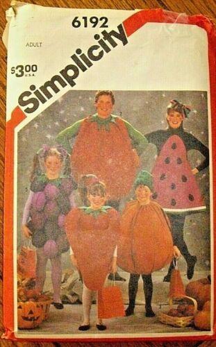 Vintage SIMPLICITY #6192 Sewing Pattern/ Uncut/ Felt Fruit & Vegetable Costumes
