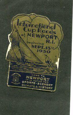 Vintage Travel Label NEWPORT RI 1930 International Cup Races sailboats foil